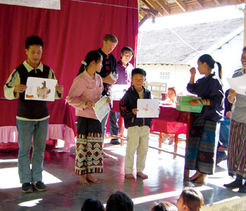 An art contest for children in Luang Prabang.