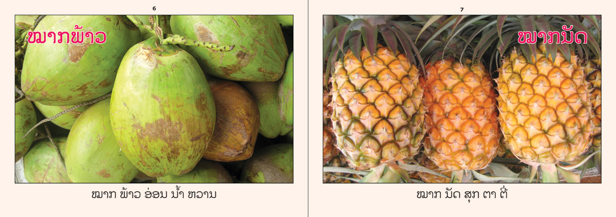 sample pages from Fruits That I Know, published in Laos by Big Brother Mouse