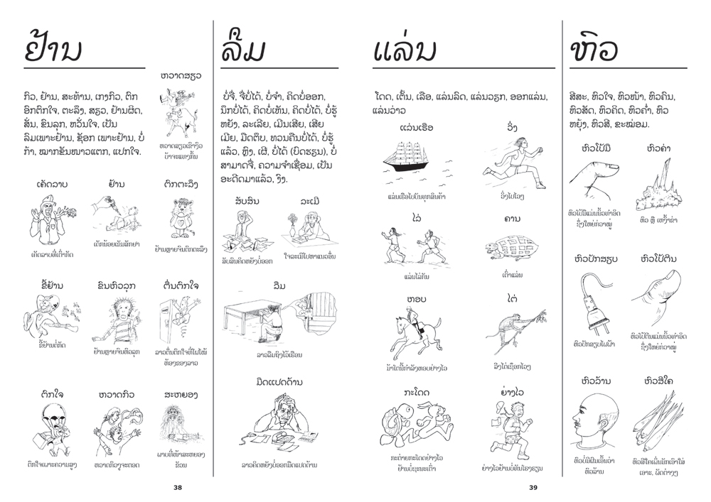 sample pages from The Picture Thesaurus, published in Laos by Big Brother Mouse