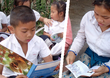 evaluating reading levels in a Lao school