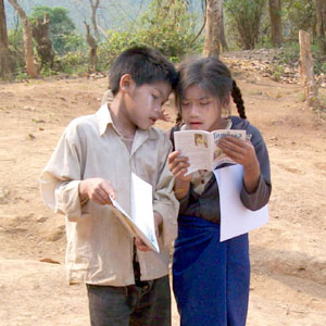 A rural book party in Laos