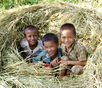 Yuli and his friends, play in Laos